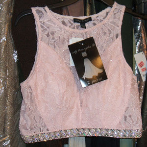 City Triangles pink lace 2 pc gown size 7/15 JCPen